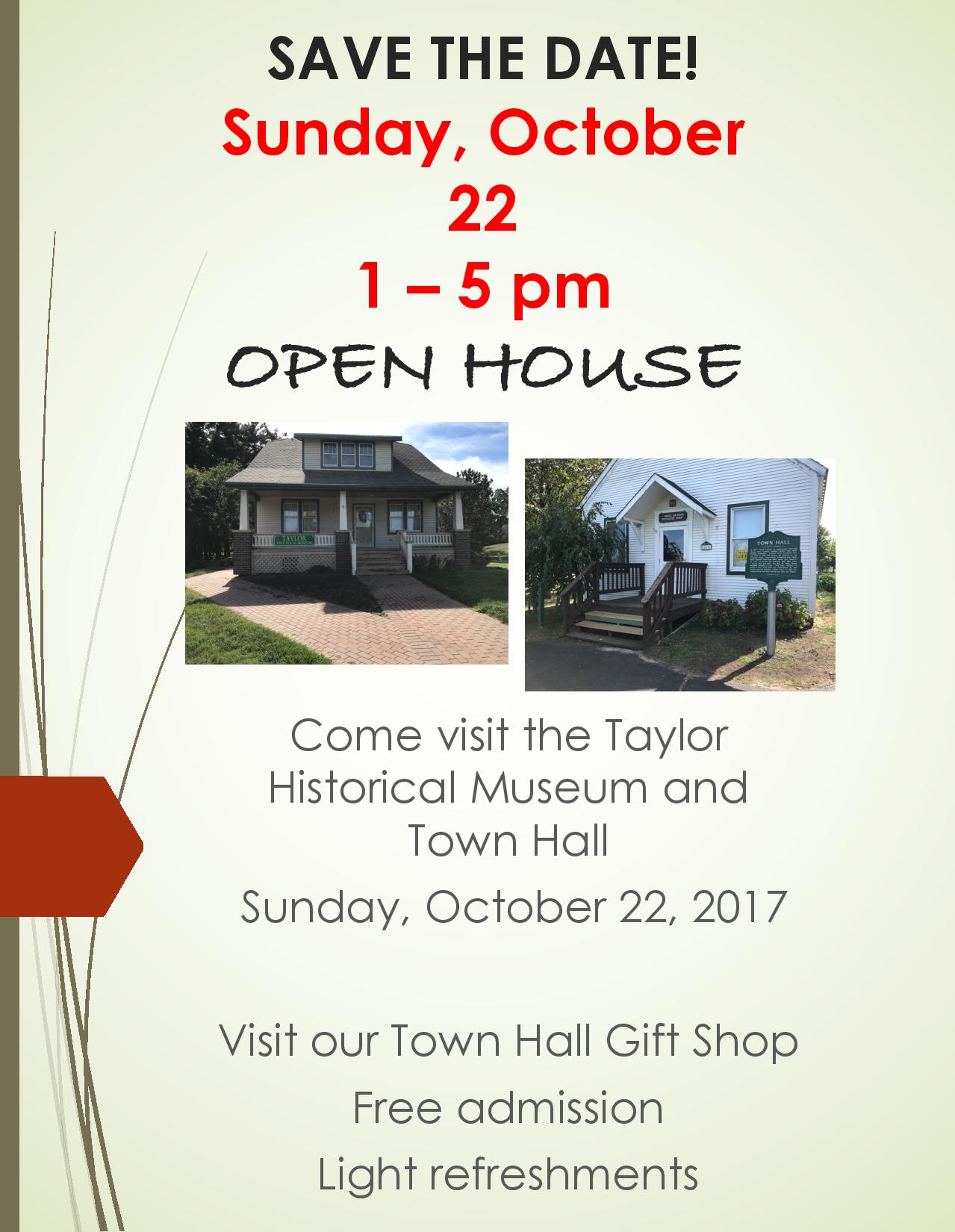 Taylor Historical Museum Open House Flier 10-22-17