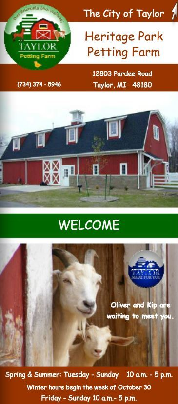 Heritage Park Petting Farm Brochure