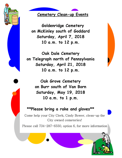 2018 Cemetery Clean-up dates