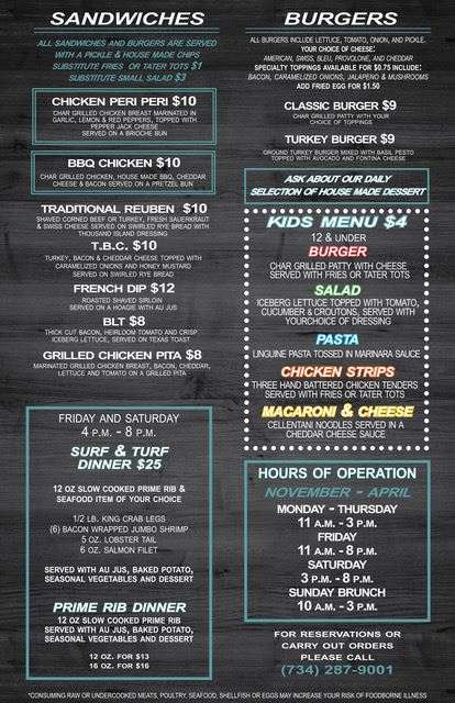 Lakes of Taylor Fall menu 2018 2