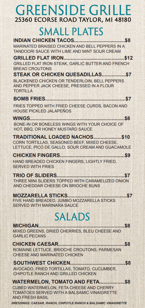 Meadows Greenside Grille Menu