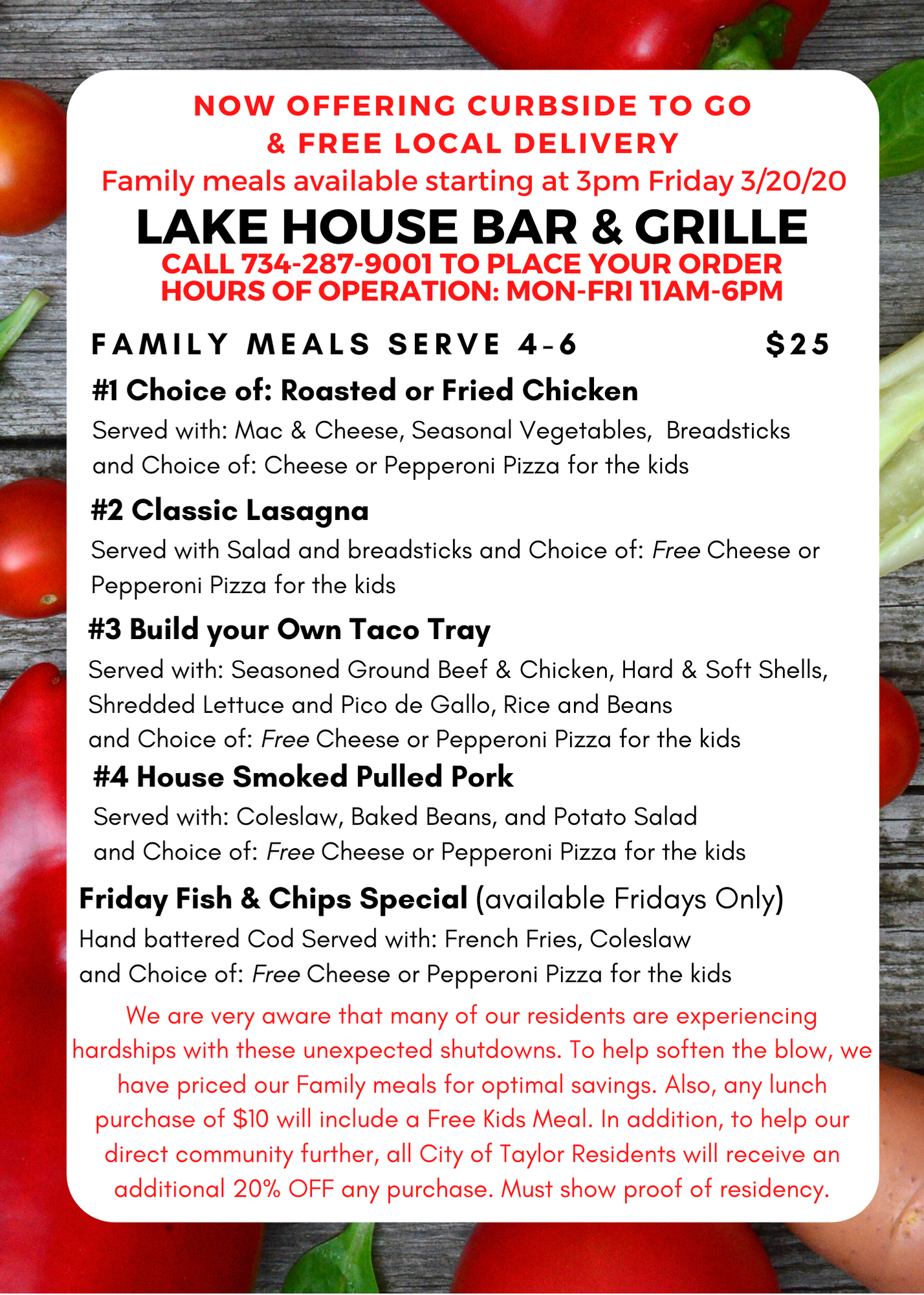 Lakehouse Bar & Grille Curbside and Delivery Menu Back