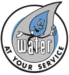 "Water and Sewer Logo that reads, ""Water at your service."""
