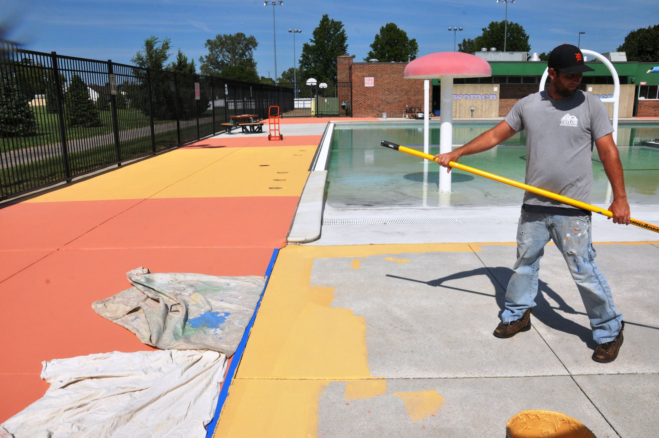 Pool Deck being painted